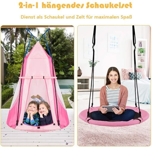 COSTWAY Ø 100cm Nestschaukel mit Zelt